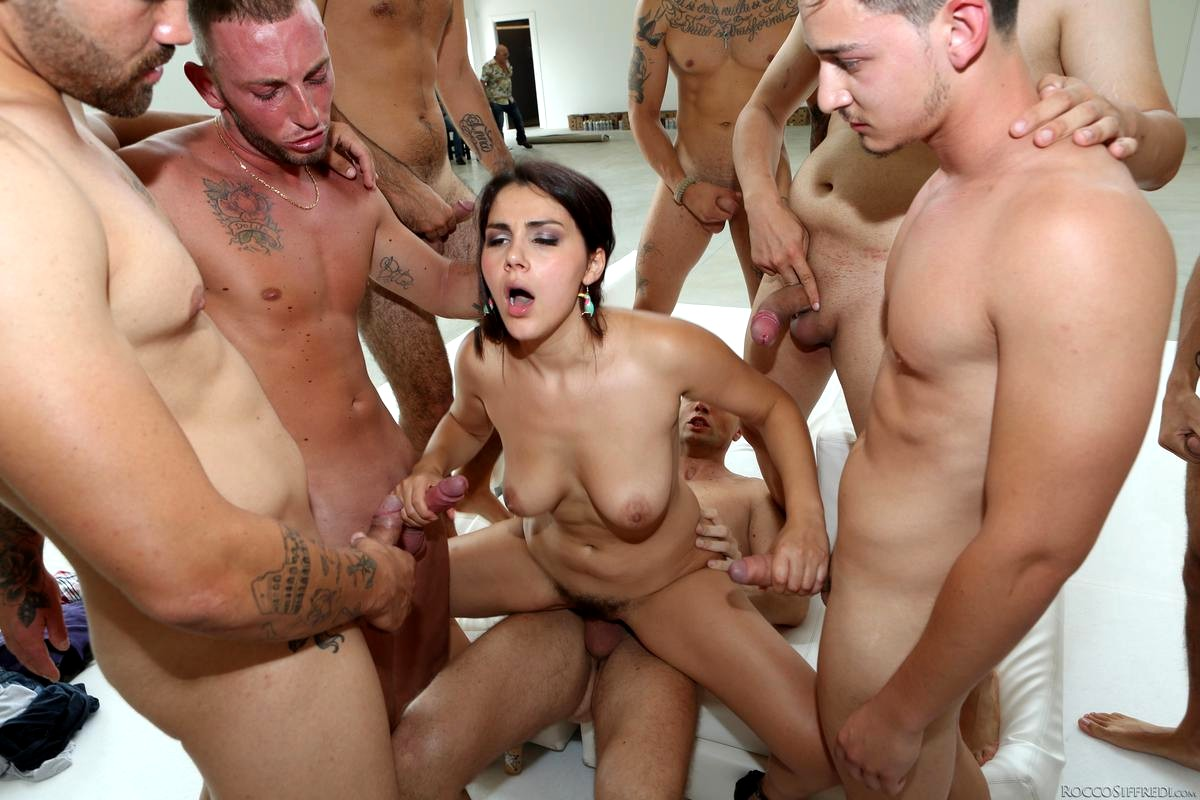 Woman fucked hard and gangbanged